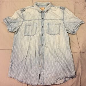 Calvin Klein polka dot denim button up shirt
