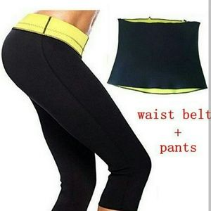 NEOPRENE PANTS AND WAIST SLIMMING BELT