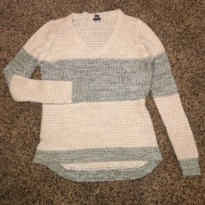 Green and Beige Color Block V Neck Sweater