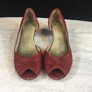 Red peep toe kitten heels
