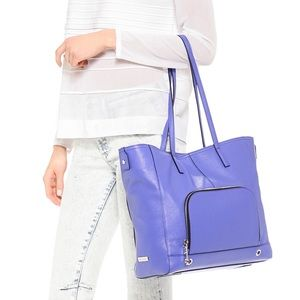 Milly Handbags - Milly Astor Tote - Blue Pebbled Leather
