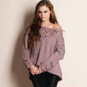 Bare Anthology Sweaters - Murmur Lace Up Sweater Top