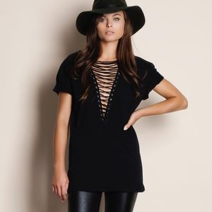 LAST ONE Rapture Lace Up Tee / Top