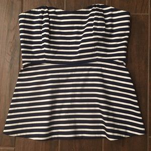 J.Crew Navy and white striped top