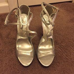 Venus Silver Strappy 4.5 inch heel.