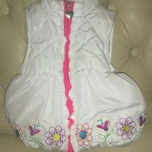 Kids Headquarters Other - WHITE MULTICOLOR PUFFER BABY GIRLS VEST - 12M