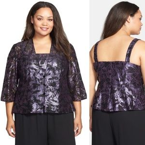 Alex Evenings Lace Floral Top and Jacket Twinset