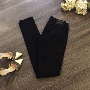 NWOT TRUE RELIGION Black Skinny Jeans, Size 24