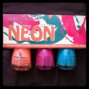 china glaze Other - China Glaze NEON 3 Nail Polish Set Coral Pink Blue