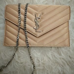 Saint Laurent Handbags - Authentic Satin Beige Small Wallet on Chain