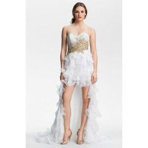 Sherri Hill Dresses & Skirts - Sherri Hill High Low White/Gold Beaded Prom Dress