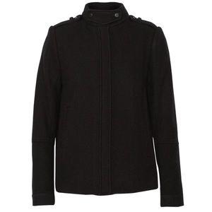 NWT Vince Wool Collar Twill Jacket Black 10