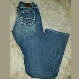 2xist Denim - Women's BKE Harper Bootcut Blue Jeans White Stitch