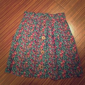 Multicolor abstract floral skirt