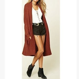 Rust Long Chunky Cardigan