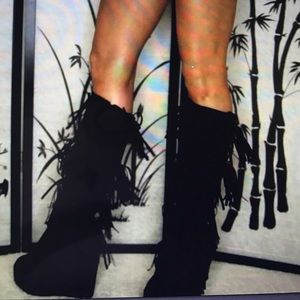 Shoes - Black Fringe Boots With Wedge size 8