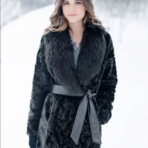 Fabulous Furs Jackets & Blazers - Black faux fur coat with belted waiste.Never worn