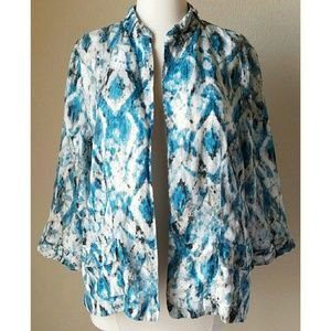 Chico's Tops - Chicos Linen Blue & White Tie Dye Open Front Shirt