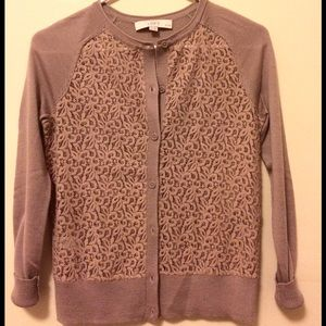 LOFT XXSP Fine Merino Wool Lace Cardigan Sweater