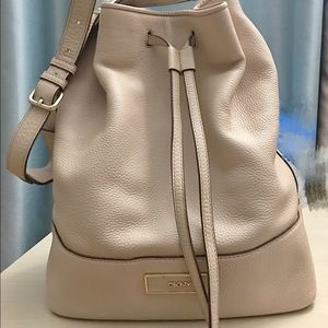 DKNY leather bucket bag in ivory