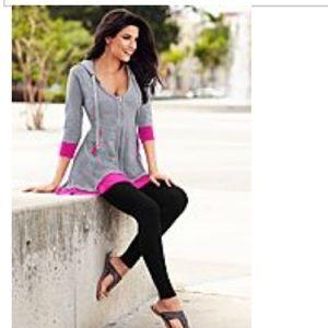 Tops - Gray and Black Zip-Up Sweatshirt