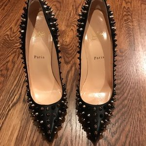 christian louboutin pigalle spikes 120 nappa shoes