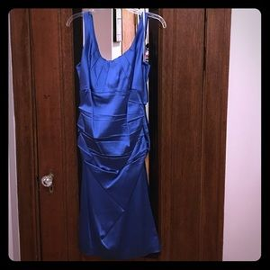 Satin midi length cocktail dress