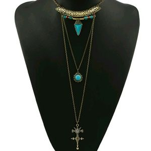 Jewelry - Bronze boho goddess necklace layered long