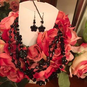 Rains Jewelry - Rains Black three layer stones and earrings set.
