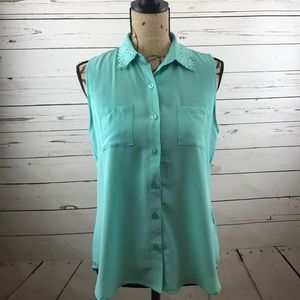 mine Tops - Mint Sleeveless Collared Button Up Blouse