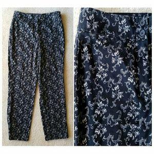 Ann Taylor Pants - Ann Taylor Black & Ivory Floral Cotton Pants