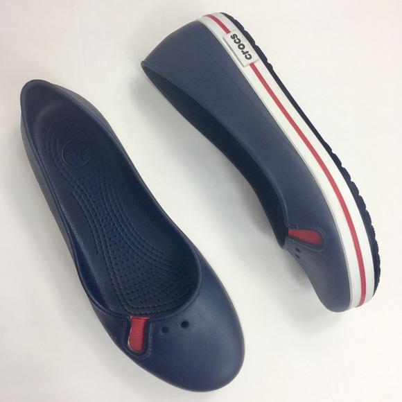 f7b1d9cf1213d1 CROCS Shoes - CROCS Crocband Navy Ballerina Flats