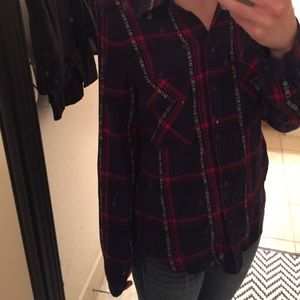 Swell Tops - SWELL Navy plaid shirt