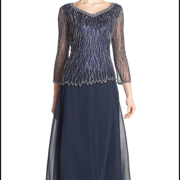J Kara Dresses | Beaded Popover Chiffon Gown | Poshmark