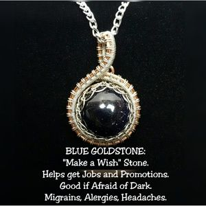 DGwiring Jewelry - Blue Goldstone Necklace Wire Wrapped Handmade