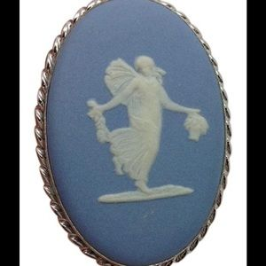 Jewelry - Sterling silver blue cameo brooch pin pendant