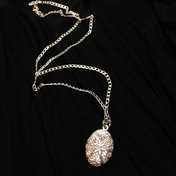 Vintage 90s Silver Locket on Sterling Chain