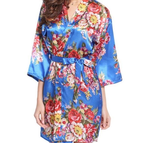 Women s Short Floral Satin Kimono Robe Royal Blue 6382712a6