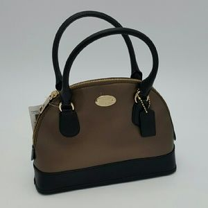COACH MINI CORA DOME CROSSGRAIN LEATHER SATCHEL