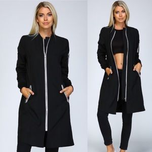 Extra long bomber jacket