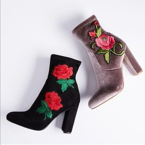 Black embroidered Rose booties