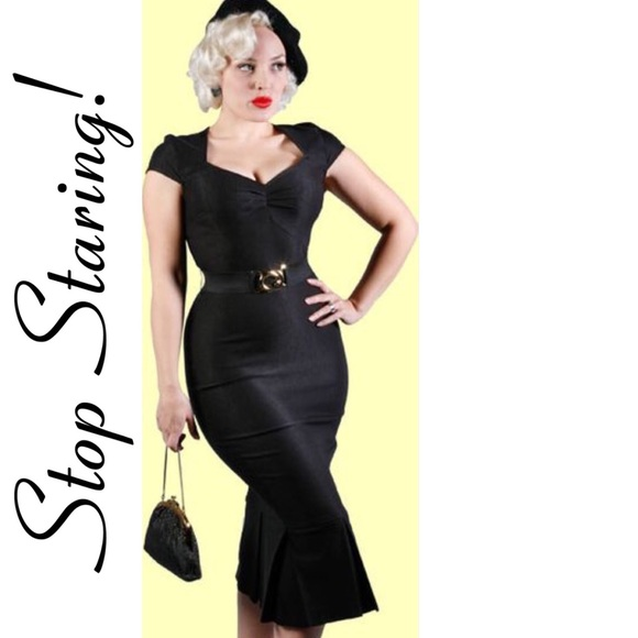 Stop Staring Dresses Sale Black Pinup Retro Wiggle Dress Poshmark