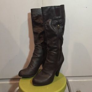 UNLISTED brown heeled knee high boots