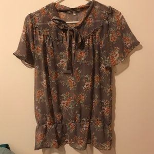 Brown Green Floral Blouse Bow
