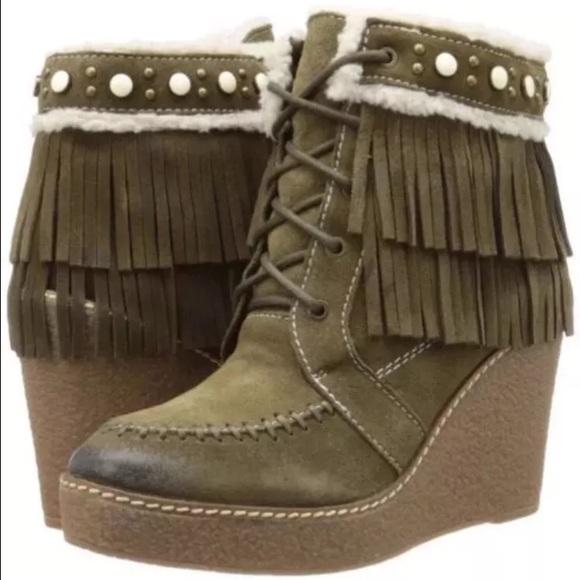 5f578ddb9283f Sam Edelman Kemper green fringe ankle boot wedge 8.  M 586f5bd5ea3f36c5ad027b53