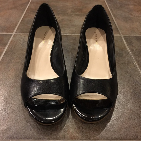 4707b705bcf9 Cole Haan Shoes - COLE HAAN Black Leather Peep Toe Wood Finish Wedge