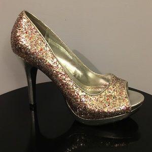 "Rampage Shoes - Rampage Glitter ""Gracee"" Peep Toe Platform Heels"