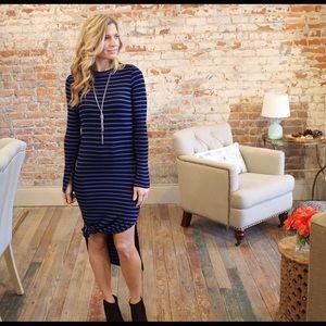 Dresses & Skirts - Blue and black long sleeve striped dress