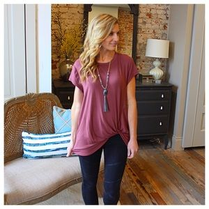 Tops - Front knot short sleeve tunic