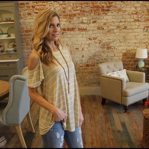 Tops - Khaki and ivory 2 tone striped cold shoulder tunic